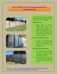 Tips to Shortlist the Best Fencing Manufacturers Springfield Lakes.pdf