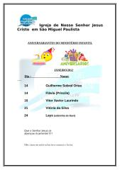 ANIVERSARIANTES DO MINISTÉRIO INFANTIL janeiro 2012.doc